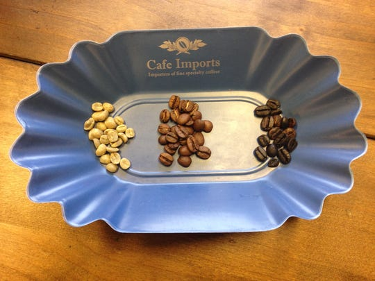 Inspect the beans. From left, unroasted beans, properly roasted beans, over-roasted beans. The flavor has been roasted out of the beans on the right.