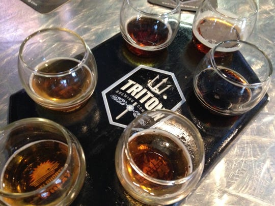 Stop 11: Samples of beer at Triton Brewing Company in Indianapolis. Their flagship beer is the Rail Splitter IPA.