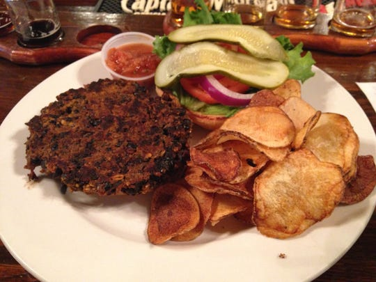 Stop 19: A black bean veggie burger at Barley Island Brewing Company in Noblesville.