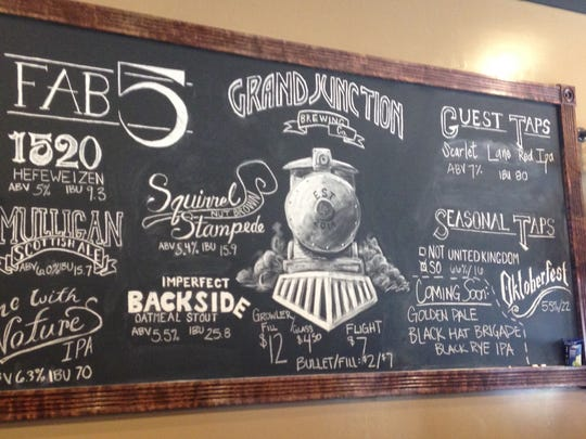 """Stop 20: Available beers at Grand Junction Brewing in Westfield. They have """"Fab 5"""" house beers and seasonal selections."""