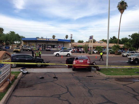 The scene of Wednesday's crash in Chandler that sent