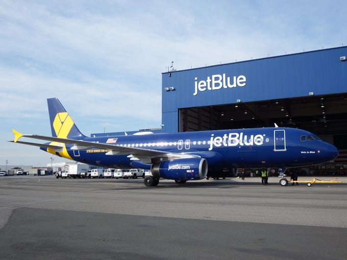 JetBlue's 'Vets in Blue' Airbus A320 is seen at New