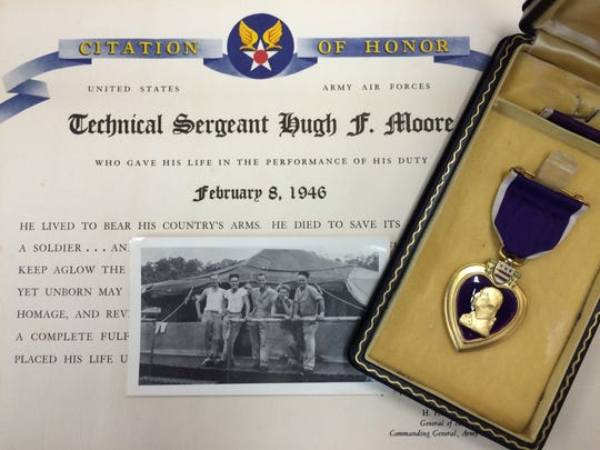 The Purple Heart posthumously awarded to Tech. Sgt.