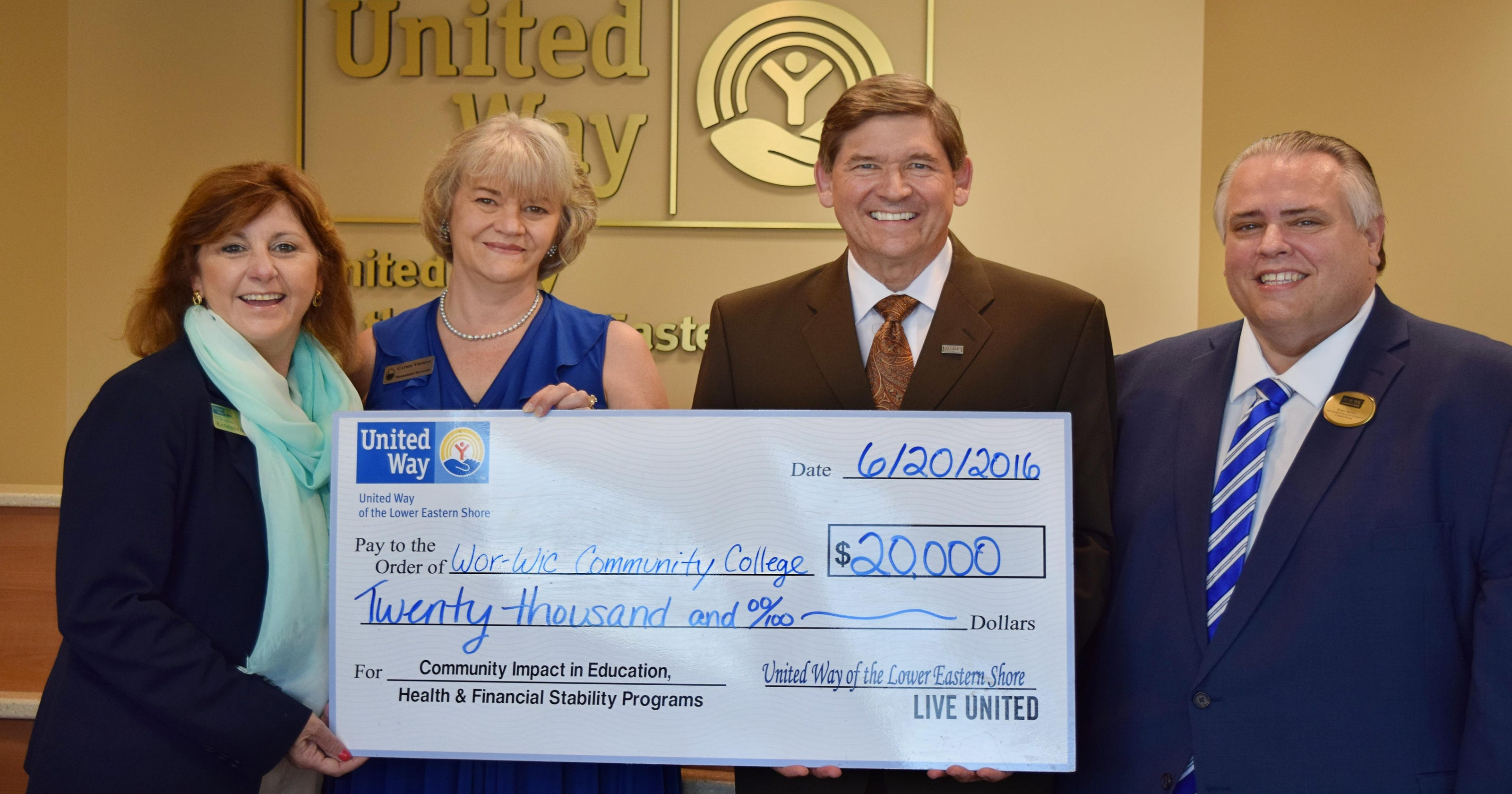 United Way Gives Wor Wic 20k For Continuing Education