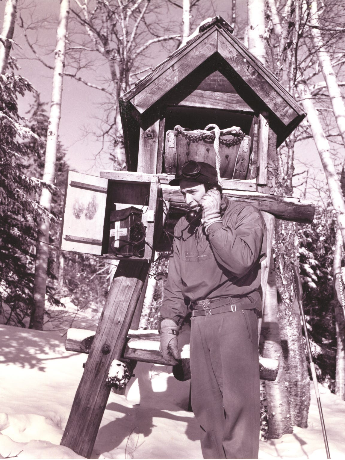 In this 1952 photo, Mount Mansfield Ski Patroller Willis