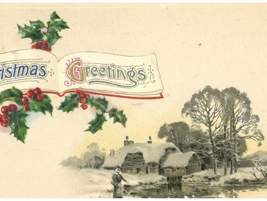 One of the antique Christmas cards on display at the