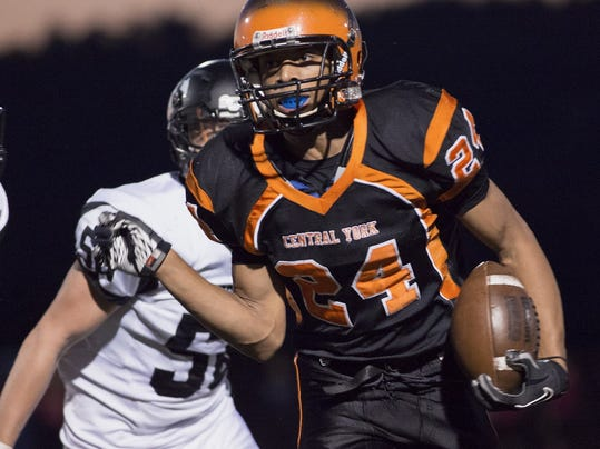 South Western's Tyler Jachelski is unable to run down Central York's Terrance Carter Friday, Sept. 26, 2014.     JOHN WHITEHEAD for the Daily Record/Sunday News