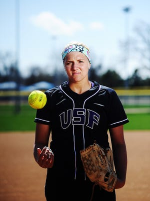 USF's Bailey Bouman stands for a portrait on Thursday, April 24, 2014, at Sherman Park in Sioux Falls. (Joe Ahlquist / Argus Leader)