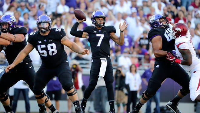 TCU Horned Frogs quarterback Kenny Hill (7) throws during the first quarter against the Arkansas Razorbacks at Amon G. Carter Stadium in Fort Worth, Texas, on Sept. 10, 2016.