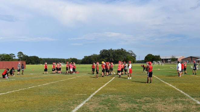 The Bryan County High School football team, shown here at practice in Pembroke, will have a intrasquad scrimmage on Friday.