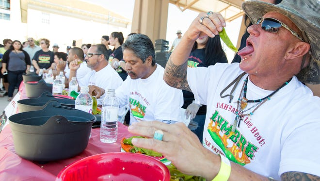 Randy Perry, of East Los Angeles, competes in the Lumber Chile Eating Contest on Sunday, September 24, 2017 at the Downtown Plaza. Carrillo won first place in the contest. Perry won second place in the contest.
