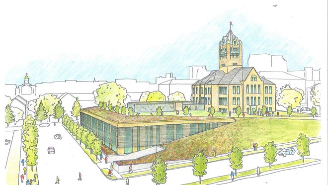 A preliminary design rendering is shown for a proposed annex to the Johnson County Courthouse. Voters will be asked whether to approve a $33.4 million bond referendum to build the annex.