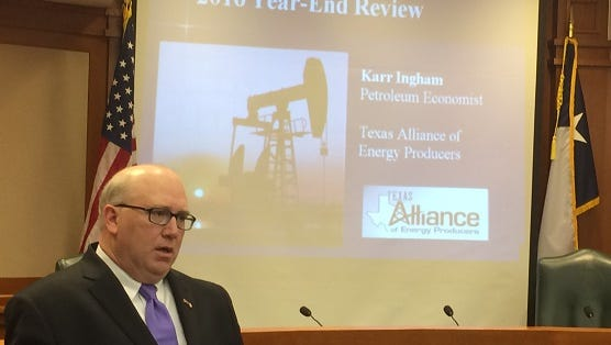 Energy economist Karr Ingham speaks about the state of the oil and gas industry in Texas on Thursday at the Texas Capitol.