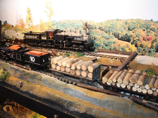 A logging train is one of the models donated to the Saluda Historic Depot.