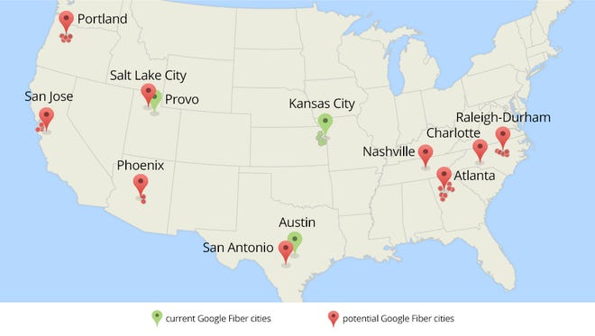 A map shows both current and potential Google Fiber cities