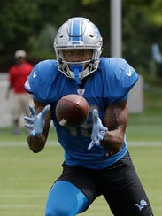 Lions rookie receiver Kenny Golladay makes a catch