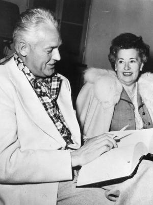 Mayor Charlie Farrell and Ruth Hardy, first woman to be elected to the Palm Springs City Council.