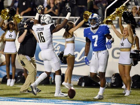 Vanderbilt wide receiver Kalija Lipscomb (16) celebrates