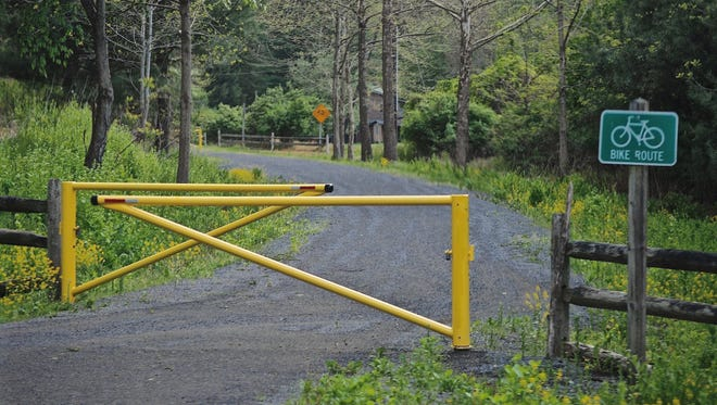 The Pine Creek Rail-Trail spans 62 miles along a former railroad corridor running from Stokesdale in Tioga County to Jersey Shore in Lycoming County.