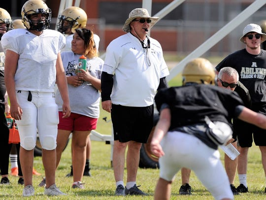 Abilene High head coach Del Van Cox looks on during the Eagles' first spring practice in April. Cox is in his fourth season at the helm at AHS.