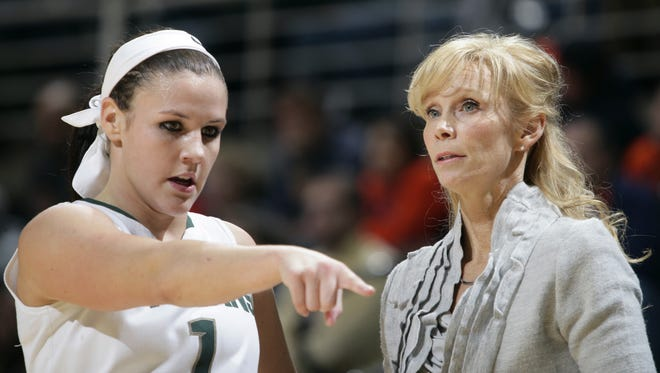 Michigan State's Tori Jankoska and coach Suzy Merchant talk in the second half against of MSU's win Thursday at Breslin Center. Jankoska has been pressed into playing point guard this season.