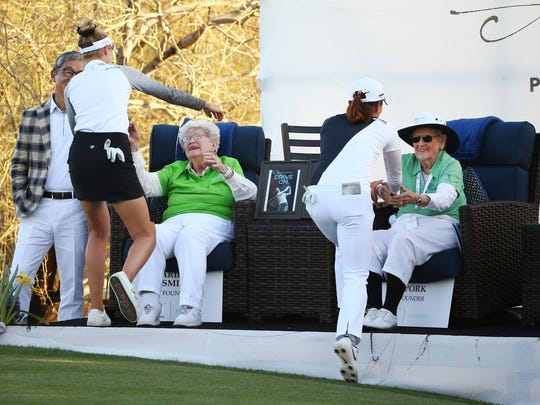 LPGA Founders Marilynn Smith (left) and Shirley Spork greet golfers after they finish their final round at the Bank of Hope Founders Cup on Mar. 24, 2019 at Wildfire Golf Club at JW Marriott in Phoenix, Ariz.