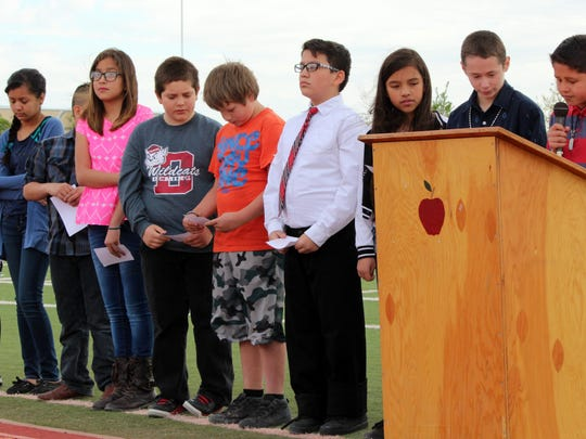 Bataan Elementary School fifth graders provided a small token of their appreciation for the New Mexico veterans of the Bataan Death March during World War II.