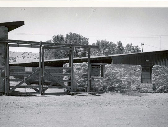 An old photograph of the stables at Fort Stanton.