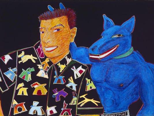 "Gilbert Luján, ""Blue Dog."""