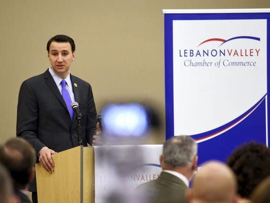 Congressman Ryan Costello speaks to the Lebanon area business and community leaders Wednesday morning at the HACC-Lebanon Campus. Costello, a Republican representing the Sixth District, spoke for 25 minutes then took questions from the audience.