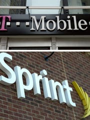 T-Mobile and Sprint signage. The two companies are