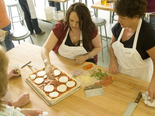 A pizza class at the King Arthur Flour Baking Education Center in Norwich.