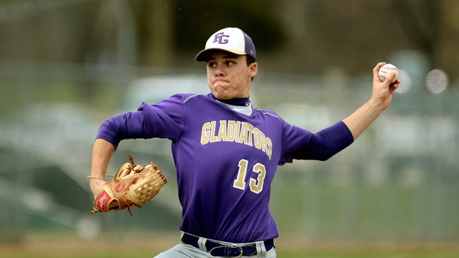 Fowlerville's Eric Fritz threw a 2-hitter for the Gladiators in the first game of Monday's sweep of Lansing Catholic at Gehringer Field.