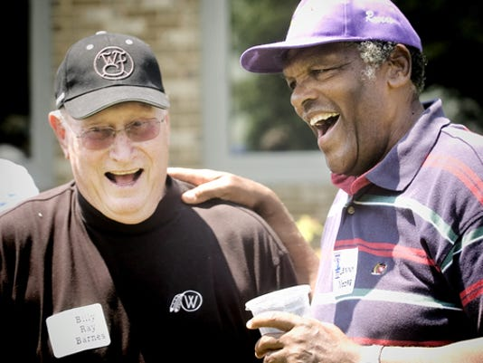 Former Baltimore Colt great Lenny Moore, right, chats with former Philadelphia Eagle Billy Ray Barnes during a recent York County Special Olympics Celebrity Golf Classic at Out Door Country Club. The 2015 event is set for June 15.