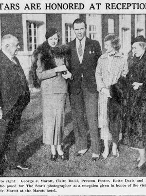 George Marott, left, welcomes Claire Dodd, Preston Foster, Bette Davis and Laura LaPlante at a reception given in honor of the visiting movie stars in 1933.