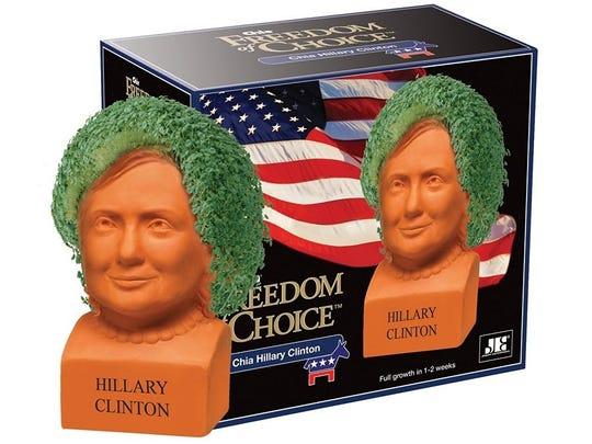 Hillary Clinton as a Chia Head.