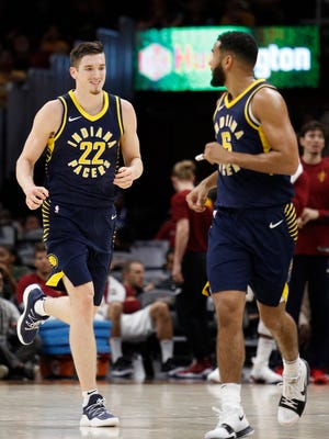 Indiana Pacers forward T.J. Leaf (22) runs back down the court after making a basket during the fourth quarter against the Cleveland Cavaliers at Quicken Loans Arena.