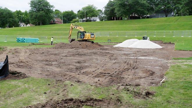 Work has begun at the new skate park being built at Kiwanis Park, Friday August 18, 2017, in Sheboygan, Wis.