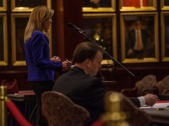 Defense attorney Linda Jones gives her opening statement during the Utah Court of Appeals court session at Southern Utah University, Thursday, Jan. 28, 2016.