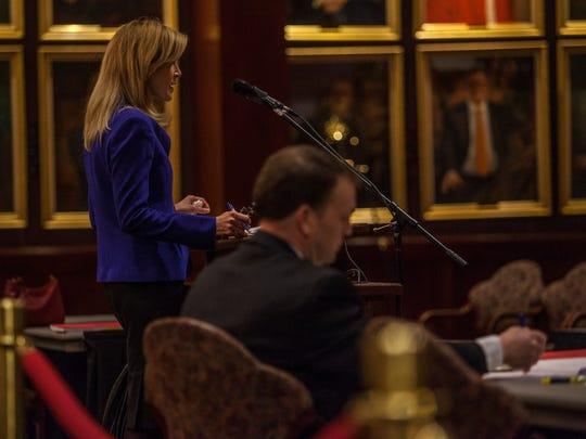 Defense attorney Linda Jones gives her opening statement