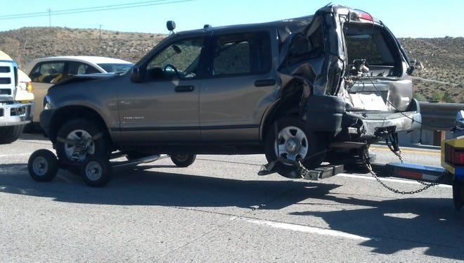A vehicle that was involved in a multiple-vehicle crash on U.S. 395 near Golden Valley on Tuesday morning, April 29.