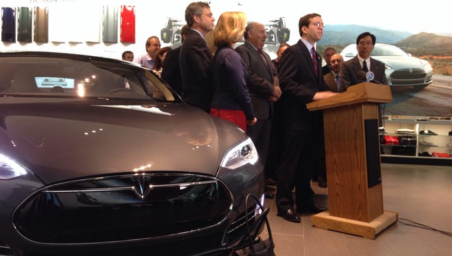 Assemblyman David Buchwald (D-White Plains) on Friday led a group in opposition to pending legislation that would prohibit car companies like Tesla from selling directly to consumers. If the legislation passes, Tesla would no longer be able to sell cars through its stores in White Plains, pictured, and elsewhere in the state.