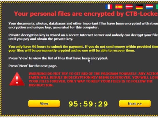 A ransomware screen shot that comes up when users click