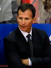 Detroit Red Wings assistant coach Tony Granato watches a game against the Chicago Blackhawks on Sept. 23, 2015, in Detroit.