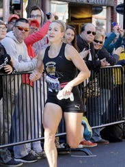 Women's marathon winner Marina Orrson nears the finish