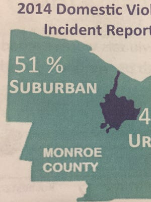 911 reports for domestic disturbances in the suburbs outpaced those in Rochester in 2014.