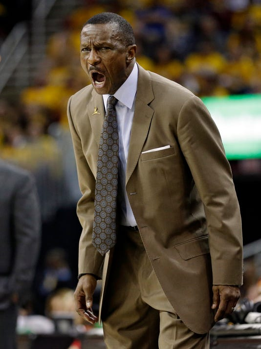Toronto Raptors head coach Dwane Casey yells to players in the second half in Game 1 of a second-round NBA basketball playoff series against the Cleveland Cavaliers, Monday, May 1, 2017, in Cleveland. The Cavaliers won 116-105. (AP Photo/Tony Dejak)