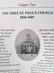 The first building of at St. Paul's Lutheran Church in York, that stood at the current location of the York City Police building from 1836 until it was replaced in 1869 more closely resembles the current church at South George Street and Springettbury Avenue. Photo is from A History of St. Paul's Lutheran Church 1836-2011