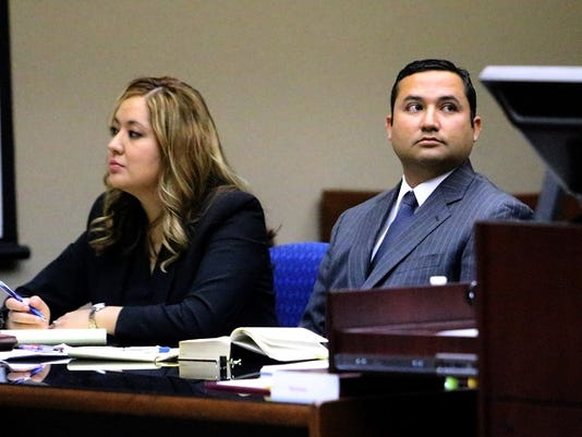 "Former Socorro city Rep. Jesus ""Jesse"" Gandara Jr. with attorney Jeanette Diaz during his trial Tuesday in 210th District Court."