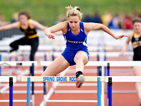 Spring Grove's Zoe Stauffer competes in the girls 100